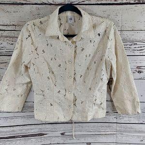 Cabi cropped lace inset portrait jacket ivory M